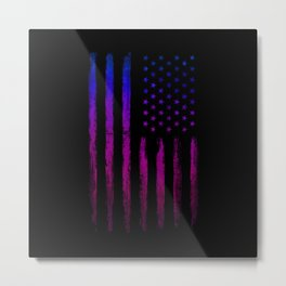 Gradient grunge American flag Black ink Metal Print