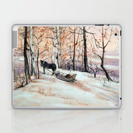 Sledging in the winter forest Laptop & iPad Skin