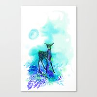 bambi Canvas Prints featuring bambi by anneamanda