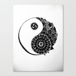 Ying Yang Zentangle Canvas Print