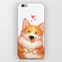 corgi iPhone & iPod Skins featuring Corgi by TidawanT