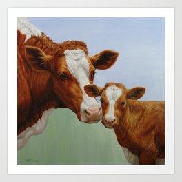 Guernsey Cow and Cute Calf Art Print