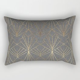 Art Deco in Gold & Grey Rectangular Pillow