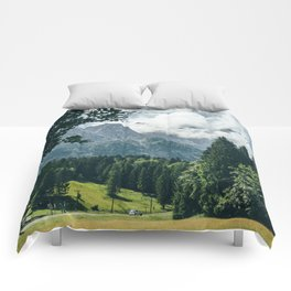 Zugspitze Mountain In Summer Clouds Comforters