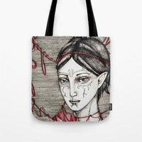dragon ball Tote Bags featuring Merrill: ball of twine  by Anca Chelaru