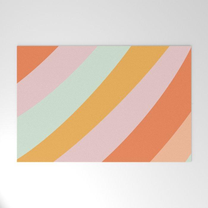 Summer Sorbet Pastel Curved Stripes Welcome Mat