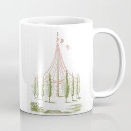 Pale Pink and Green Vintage Maypole Illustration Coffee Mug