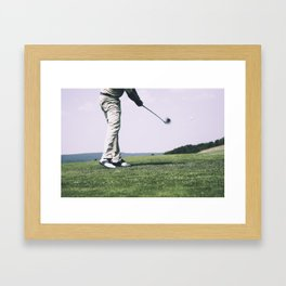 Golfer Driving Framed Art Print