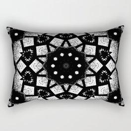 Black White Mosaic Kaleidoscope Mandala Rectangular Pillow