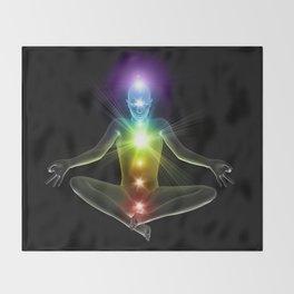 Humanoid in lotus yoga pose with glowing chakras Throw Blanket