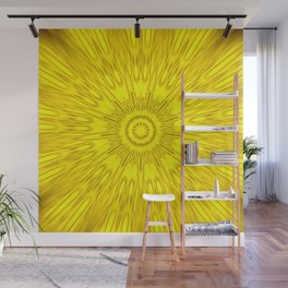 Yellow Mandala Explosion Wall Mural