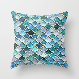 Multicolor Aqua Mermaid Scales - Beautiful Abstract Glitter Pattern Throw Pillow