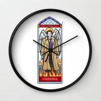 castiel Wall Clocks featuring Castiel by Grace Mutton