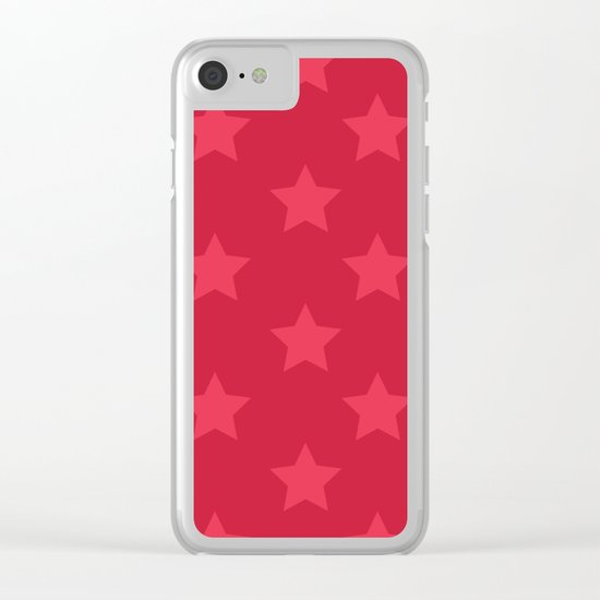 Red stars Clear iPhone Case
