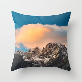 Burning clouds over the mountains Throw Pillow