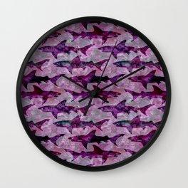 Danger: Purple Shark Attack Wall Clock