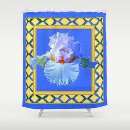 BLUISH-WHITE PASTEL IRIS FLOWER BOTANICAL ART Shower Curtain