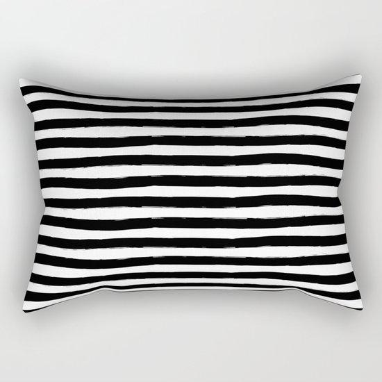 Black And White Hand Drawn Horizontal Stripes Rectangular Pillow