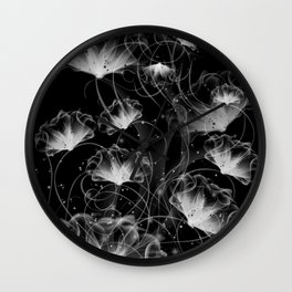 Morning Glory in black and white. Wall Clock