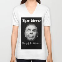 kevin russ V-neck T-shirts featuring Russ Meyer Tribute Poster by Holland