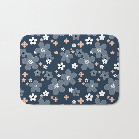 Blue floral pattern . Bath Mat