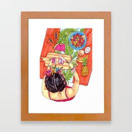Frida fruit salad Framed Art Print
