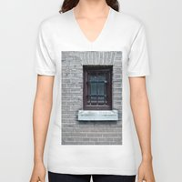 window V-neck T-shirts featuring Window by Marieken