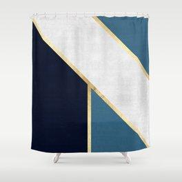 Golden polygon V Shower Curtain