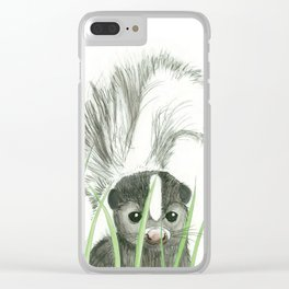 Peekaboo baby Skunk Clear iPhone Case