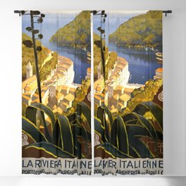La Riviera Italienne - Italy Vintage Travel Poster 1920 Blackout Curtain