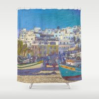 portugal Shower Curtains featuring Fisherman's beach Albufeira, Portugal by Michael Howard