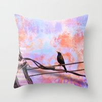 artsy Throw Pillows featuring Artsy Grackle by Angelandspot