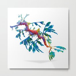 Geometric Abstract Weedy Sea Dragon Metal Print