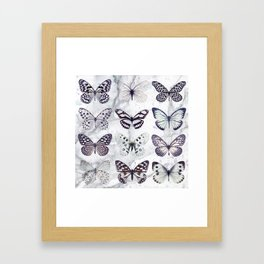 Black and white marble butterflies Framed Art Print
