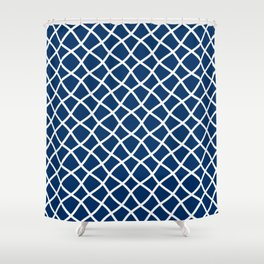 Dark blue and white curved grid pattern Shower Curtain