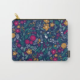 Block Print Botanical Carry-All Pouch