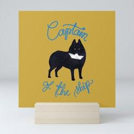Captain Schipperke (Yellow and Blue) Mini Art Print