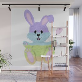 Furry, Pastel Easter Bunny Wall Mural