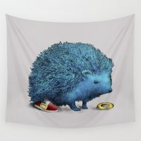 sneakers Wall Tapestries featuring Sonic (color option) by Eric Fan