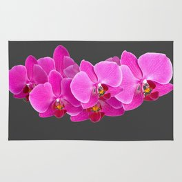 CHARCOAL GREY PURPLE PINK ORCHIDS Rug
