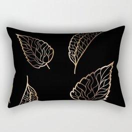 Black & Gold Feather Pattern Rectangular Pillow