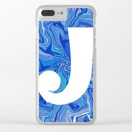 J wih blue swirls Clear iPhone Case