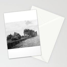 Lst-21 Unloads Tanks During Normandy Invasion Stationery Cards