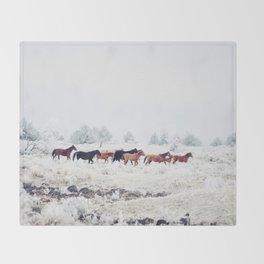 Winter Horse Herd Throw Blanket