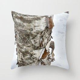 Winter Tree Bark Throw Pillow