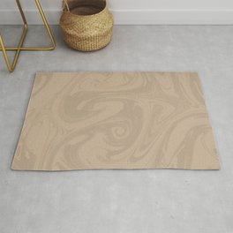Pantone Hazelnut Abstract Fluid Art Swirl Pattern Rug