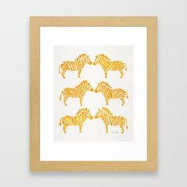 Zebras – Yellow Palette Framed Art Print
