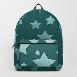 Teal Green Ombre Floating Stars and Herringbone Backpack