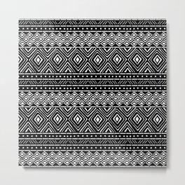 African Tribal Mudcloth // Black Metal Print