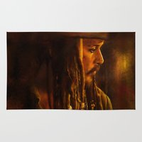 jack sparrow Area & Throw Rugs featuring Captain Jack Sparrow by Rosita Maria